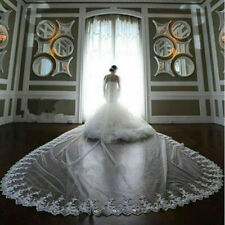 New 1T White/Ivory Long Bridal Veil Cathedral Lace edge Wedding Veils With Comb