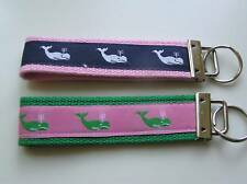 Classic Preppy Ribbon Jacquard Novelty Keychain  Fob Wristlet Whales Pink Navy