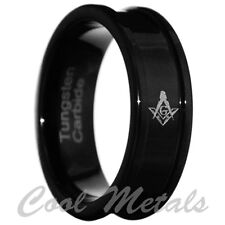 8MM Black Freemason Masonic Tungsten Carbide Band Men Ring Size 8-13
