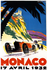 1932 MONACO MONT CARLO GRAND PRIX CAR RACE EUROPE AUTOMOBILE VINTAGE REPO POSTER