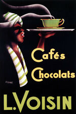 L VOISIN CAFE CHOCOLAT WAITER TRAY CUP HOT CHOCOLATE COFFEE VINTAGE POSTER REPRO