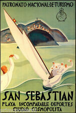 SAN SEBASTIAN SPAIN SAILBOAT SPEED SAILING SPORT TRAVEL VINTAGE POSTER REPRO