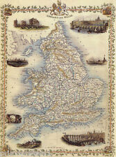 1800'S MAP ENGLAND LONDON NEWCASTLE OXFORD REPRO POSTER