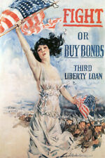 WAR FIGHT OR BUY BONDS LIBERTY LOAN SOLDIERS AMERICAN FLAG VINTAGE POSTER REPRO