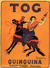 FRENCH GIPSY WOMAN RIDING BLACK HORSE TOG QUINQUINA DRINK VINTAGE POSTER REPRO