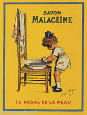 SOAP SAVON GIRL CHILD BATH WASHING MALACEINE FRENCH FRANCE VINTAGE REPRO POSTER