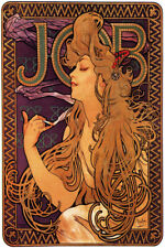 JOB WOMAN SMOKING CIGARETTE SMOKE ART NOUVEAU BY MUCHA VINTAGE POSTER REPRO