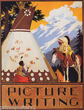 INDIAN MOUNTAIN HORSEBACK DOG HUT PICTURE WRITING USA VINTAGE POSTER REPRO