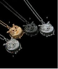 NWT COLOR RHINESTONE EYES WISE OWL NECKLACE ROUND CUTE*