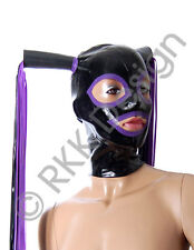 PREMIUM QUALITY - Black & Purple Latex Rubber Hood Mask 2 Pony Tails S-L