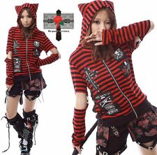 Unisex Visual Kei Rock Kitten Red Striped Cross Skull Gothic Tail EMO Jacket S-L