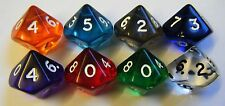 10 x Ten Sided Dice Gem  Mixed Colours RPG D10 NEW