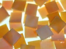 PASTEL ORANGE & WHITE OPAL handcut stained glass mosaic tiles #361