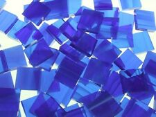 DARK BLUE WISPY handcut stained glass mosaic tiles #307