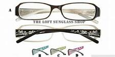 Brand New Spring Temples Floral Etching Rhinestone Detail Reading Glasses r449