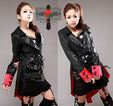 Unisex Gothic Lolita Warrior Red Shining Tailored Satin Vampire Rock Jacket Coat