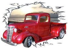 1938 Candy Red Chevy Pickup Truck Hot Rod Sun Set T-Shirt 38, Muscle Car Tee's