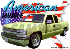 2001 Yellow Chevy Pickup Truck Custom Hot Rod USA T-Shirt 01, Muscle Car Tee's