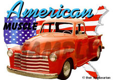 1951 Red Chevy Pickup Truck Custom Hot Rod USA T-Shirt 51, Muscle Car Tee's