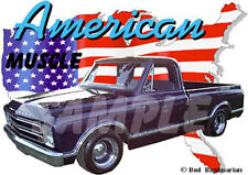 1967 Blue Chevy Pickup Truck a Custom Hot Rod USA T-Shirt 67, Muscle Car Tee's
