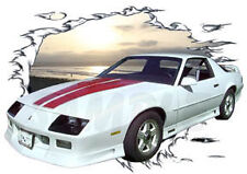 1992 White Chevy Camaro a Custom Hot Rod Sun Set  T-Shirt 92, Muscle Car Tee's