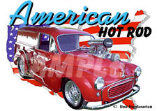 1958 Red Morris Minor Blown Custom Hot Rod USA T-Shirt 58, Muscle Car Tee's