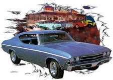 1969 Blue Chevy Chevelle a Custom Hot Rod Diner T-Shirt 69, Muscle Car Tee's