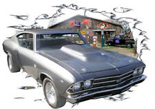 1969 Gray Chevy Chevelle SS b Custom Hot Rod Garage T-Shirt 69, Muscle Car Tee's