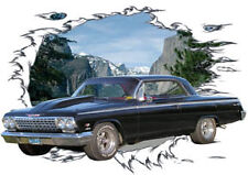 1962 Black Chevy Impala Custom Hot Rod Mountain T-Shirt 62, Muscle Car Tee's