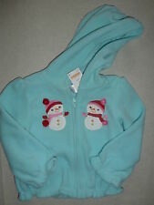 Gymboree COZY CUTIE Blue Snowman Friends Fleece Hoodie Hooded Zip Jacket NWT