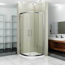Walk in Quadrant Shower Enclosure Cubicle + Stone Tray Chrome frame Easy Clean