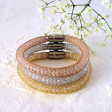 Women's Stainless Steel Mesh Bangle Bracelet Filled With Crystals Color Choice