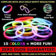 "200 Premium 8"" Glow Stick Bracelets (with bonus connectors, glow glasses, balls)"
