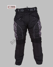 Womens Black Patterned Waterproof CE Armoured Motorbike Motorcycle Trousers