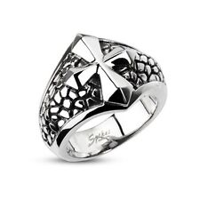 316L Stainless Steel Ring W/ Cross Over a Band of Steel Leather ring Sz9 ~ sz13