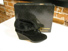 B Makowsky Nellie Black Suede Oxford Booties