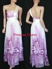 Purple White Evening Cocktail Bridesmaid Dress Maxi One Shoulder AU Size 8 to 20