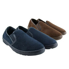 Mens Faux Suede Twin Elastic Gusset Luxury Slippers Size UK 6 7 8 9 10 11 12