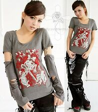 Japan Rock Harajuku Killer Nurse Bling Fusion Camden Punk Kawaii Gray 2WAY Top