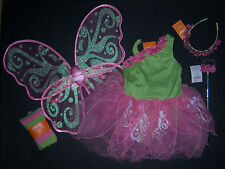NWT Gymboree Pink Green Blossom Butterfly Fairy Costume Wings Tights Tiara Wand
