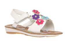 Girls Shoes Grosby Ruby Sandals White Multi or Purple with Flowers Size 6-12 New