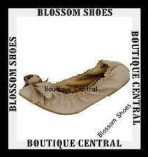 DESIGNER WOMEN SHOES ELASTICIZED BOW BEIGE FASHION FLAT BALLET SIZE AU 5.5 -10
