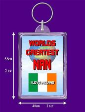 Irish Flag Worlds Greatest Keyring - Range Auntie to Wife, I Love Ireland Gift