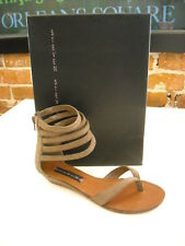 Steve Madden Raptture Taupe Snake-emboss Suede Ankle Wrap Sandals NEW