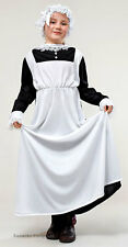 Victorian Edwardian Maid Girls Costume History Outfit Fancy Dress & Hat New 6-9