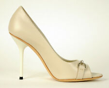 $650 HORSEBIT GUCCI PEEP TOE PUMPS SHOES MYSTIC WHITE LEATHER sizes 39.5, 40