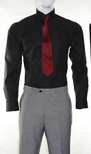 MENS VOEUT FASHION FORMAL SHIRT & RED TIE WITH PIN SET XS S M L XL XXL CANE