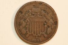 Decent With Damage 1865 Two Cent Piece - Net Very Good (TWO229)