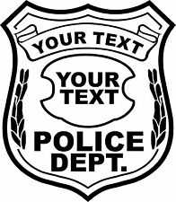 Police Badge Sticker Decal Personalized Your Text Custom 4 Laptop Car Window UTV