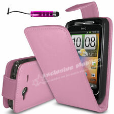 LEATHER FLIP CASE COVER FITS HTC WILDFIRE S FREE SCREEN PROTECTOR